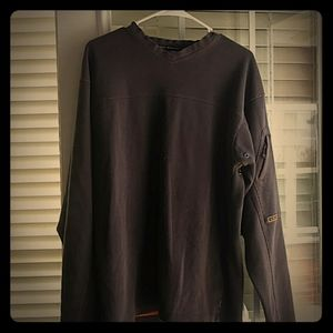 Sweater with zipper pocket on left sleeve